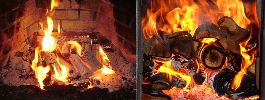 топливные брикеты и дрова в огне (как смотрятся)